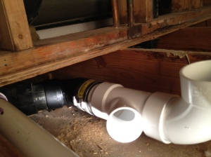 The ABS pipe connected to the PVC pipe