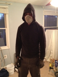 Jim back from the attic - he is covered insulation