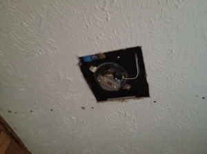 Exhaust fan in place and wired up