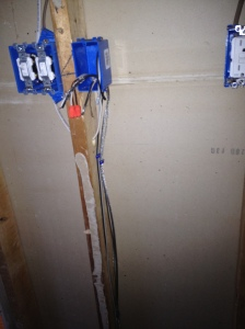Wires that will go to the floor for the thermostat in place