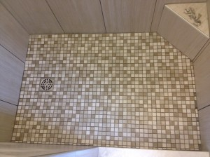Mosaic on the shower floor!