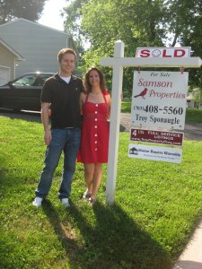 Jim and me on the day we became homeowners!