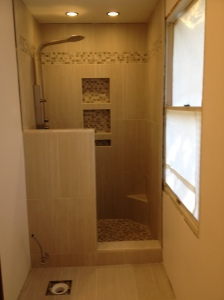 View of the shower - it just needs the glass door!