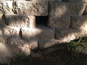 The little hole in the wall for the gutter extender to drain out of. This is where we will add a grate!