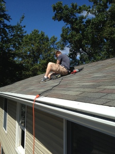 Jim getting to work on the roof!