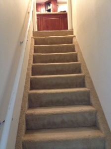 The original stairs, take note of the carpet on the sides