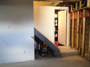 View of the stairway without the tunnel (we opened it up by removing part of the wall)