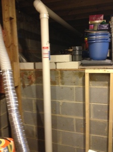 The radon expeller pipe that was in the way