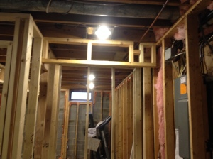 The closet header (also the new recessed lighting in the laundry room)