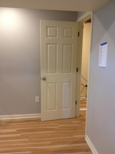 A shot of the finished door with the finished floors