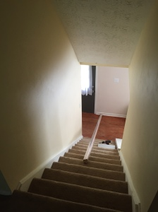 Stairs before railing and banister (see the big opening at the bottom of the stairs)?