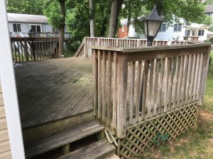The side stairs - you can see the stains on the deck and just the overall not good shape it is in