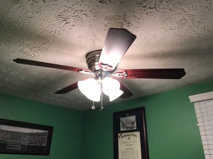 New fan with lights in the office (lights on)!